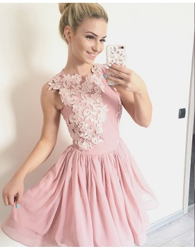 High Neck Pink Appliqued Pink Pleated Homecoming Dress HD3404