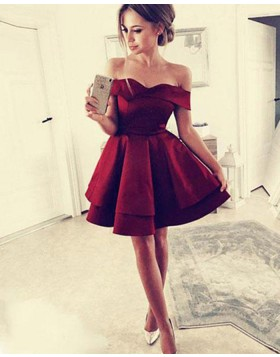 Simple Off the Shoulder Satin Red Layered Homecoming Dress HD3405