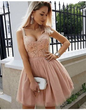 Square Appliqued Blushing Pink Pleated Homecoming Dress HD3408