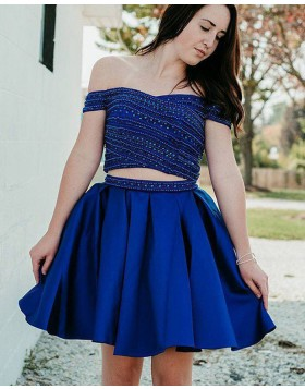 Off the Shoulder Blue Beading Two Piece Pleated Homecoming Dress HD3410