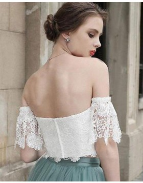 Off the Shoulder White Lace Bodice Homecoming Dress with Grey Skirt HD3412