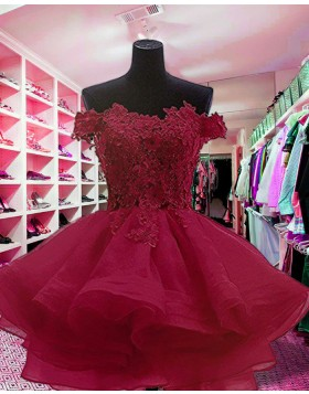 Off the Shoulder Appliqued Red Ruffled Homecoming Dress HD3414