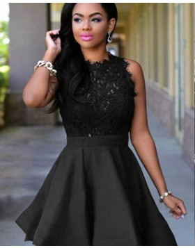 High Neck Lace Bodice Black Homecoming Dress HD3415