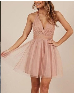 Halter Simple Blush Pink Tulle Ruched Party Dress HD3416