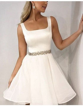 Simple Square Satin White Homecoming Dress with Beading Belt HD3418