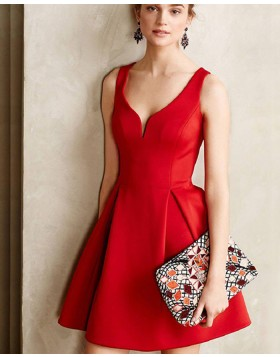 Simple Elegant Square Neck Red Cutout Satin Short Formal Dress HD3421
