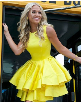 High Neck Yellow Layered Pleated Short Formal Dress HD3422