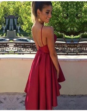 High Neck High Low Red Satin Halter Simple Graduation Dress HD3424