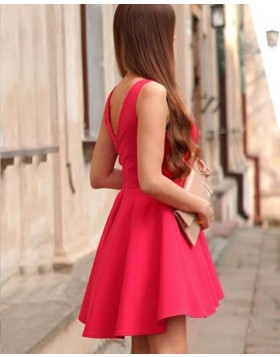 Simple V-neck Red Satin Homecoming Dress for School Dance HD3425