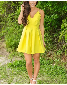 Spaghetti Straps Pleated Yellow Simple Homecoming Dress HD3426