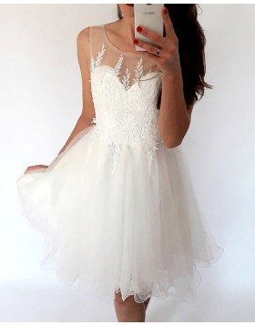 Sheer White Lace Appliqued Bodice Pleated Tulle Homecoming Dress HD3428