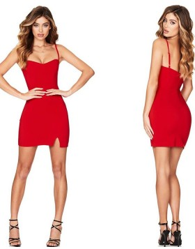 Square Simple Tight Red Sheath Short Homecoming Dress with Side Cut HD3470