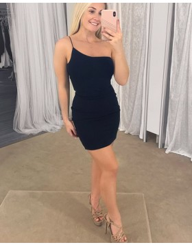 One Shoulder Simple Black Bodycon Satin Party Dress HD3471