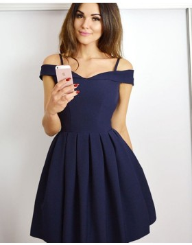 Cold Shoulder Navy Blue Simple Pleated Short Homecoming Dress HD3479