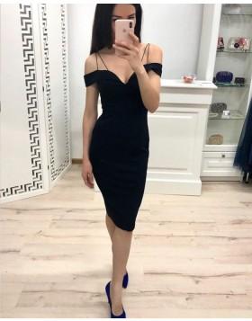 Cold Shoulder Black Simple Bodycon Party Dress HD3481