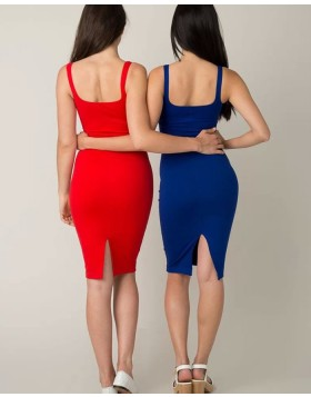 Simple Square Red Knee Length Tight Party Dress HD3486