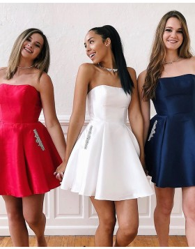 Strapless Simple Satin Short Homecoming Dress with Beading Pockets HD3490