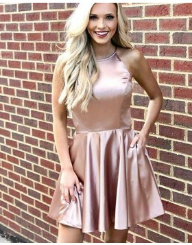 Halter Simple Nude Pleated Homecoming Dress with Pockets HD3493