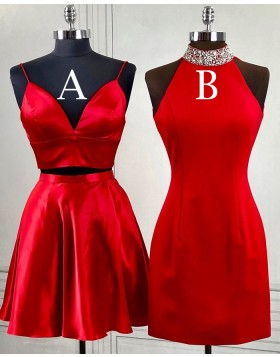 High Neck Beading Red Bodycon Homecoming Dress HD3494