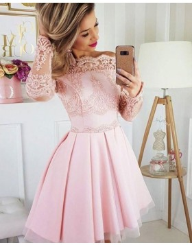 Pink Pleated Off the Shoulder Lace Appliqued Homecoming Dress with Long Sleeves HD3501