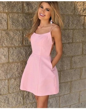 Pink Double Spaghetti Straps Simple Satin Homecoming Dress with Pockets HD3507