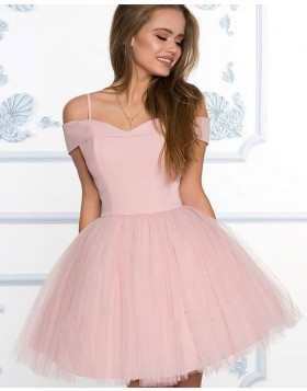 Cold Shoulder Dusty Pink Simple Homecoming Dress with Tulle Skirt HD3508