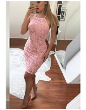 Halter Pink Lace Bodycon Homecoming Dress HD3511