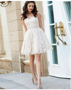 Sweetheart White Lace A-line Homecoming Dress HD3512