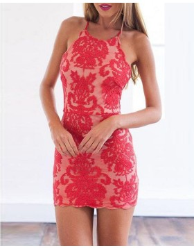 Spaghetti Straps Red Lace Bodycon Party Dress HD3515