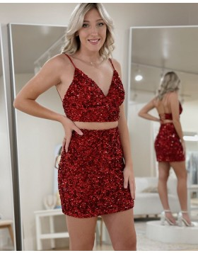 V-neck Two Piece Sequin Rose Gold Tight Homecoming Dress NHD3519