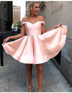 Off the Shoulder Simple Pink Satin Homecoming Dress HD3521