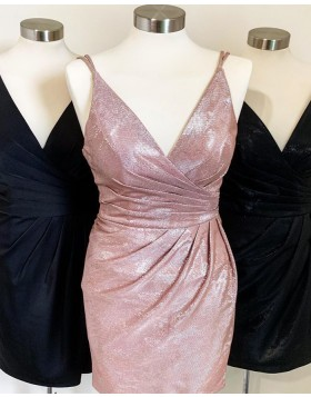 V-neck Sparkle Ruched Bodycon Party Dress HD3522