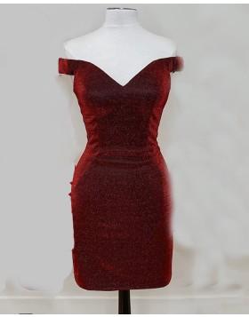 V-neck Burgundy Metallic Sheath Tight Homecoming Dress NHD3522