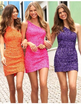 One Shoulder Fuchsia Sequin Tight Homecoming Dress NHD3523