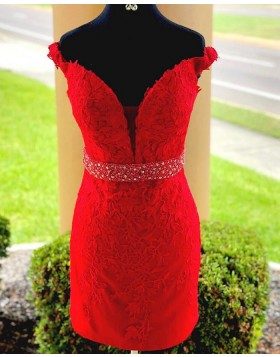 Off the Shoulder Lace Appliqued Red Bodycon Homecoming Dress with Beading Belt HD3524