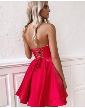 Sweetheart Red Simple Pleated Homecoming Dress HD3525
