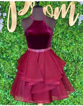 Halter Burgundy Beadings Velvet Bodice Homecoming Dress with Ruffle Skirt NHD3525