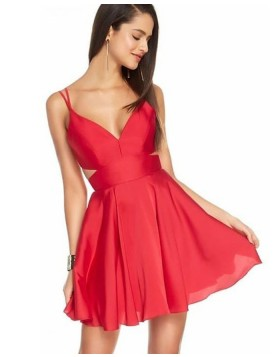 Double Spaghetti Straps Red Cutout Simple Homecoming Dress HD3530