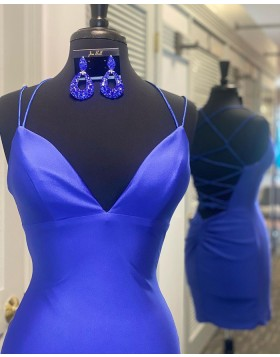 Spaghetti Straps Royal Blue Satin Tight Homecoming Dress NHD3530
