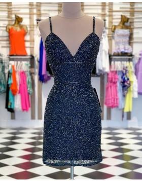 V-neck Navy Blue Beading Tulle Bodycon Party Dress HD3531