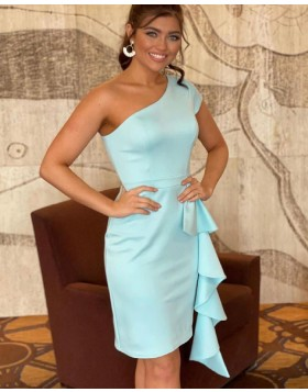 Simple One Shoulder Mint Satin Tight Homecoming Dress NHD3534