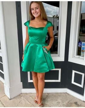 Square Neck Green Satin Cap Sleeve Homecoming Dress with Beading Pockets NHD3535