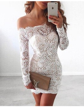 Off the Shoulder Lace White Homecoming Dress with Long Sleeves NHD3538