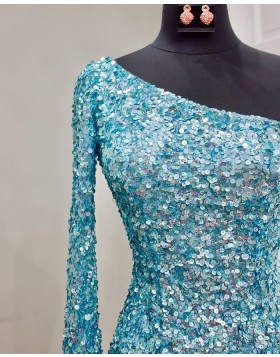 One Shoulder Gold Sequin Tight Homecoming Dress with Side Slit NHD3539