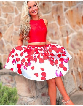 Jewel Neck Two Piece Red Homecoming Dress with Print Skirt HD3540