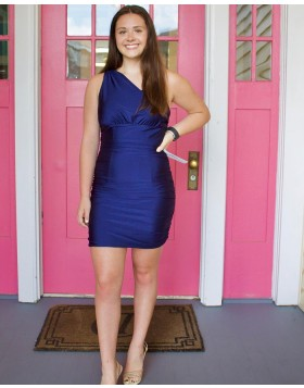 One Shoulder Navy Blue Satin Tight Homecoming Dress NHD3540