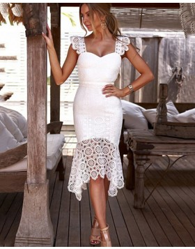 Square Neckline Knee Length Lace White Tight Formal Dress NHD3543