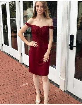 Off the Shoulder Burgundy Applique Bodice Sheath Homecoming Dress HD3546