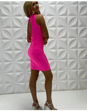 Simple Tight Halter Rose Red Criss-Cross Homecoming Dress NHD3549