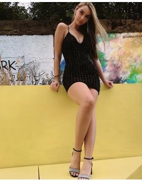 Sexy Spaghetti Straps Black Beading Bodycon Club Dress HD3550
